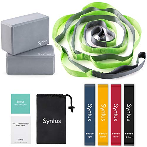 Syntus 9in1 Yoga Set 1 Yoga Strap with 12 Loops 2 EVA Foam Soft NonSlip Yoga Blocks 9×6×4 inches4 Resistance Bands with Instruction Book for Yoga Pilates Stretching and Toning Workouts