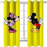Ssghio Mickey Mouse Diseño Cortina Opaca con Ojales - Cortinas Aislantes Térmicas, Reducción de Ruido, Proteccion Intimidad para Hogar Ventanas Habitación Niño Salon 234 x 229cm