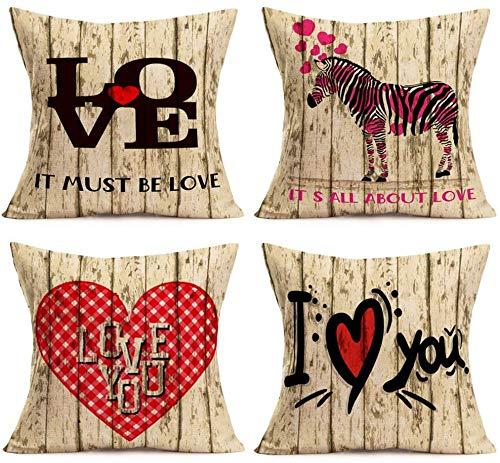 Día de San Valentín - Fundas de Almohada para decoración del hogar, Madera, Cebra con Amor, corazón Dulce, algodón, Lino, Funda de Almohada, Juego de 4 Fundas de cojín para sofá, 18 x 18 Pulgadas (W