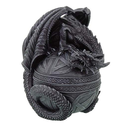Pacific Giftware PTC 6.5 Inch Celtic Dragon Topped Orbe Jewelry/Trinket Box Figurine