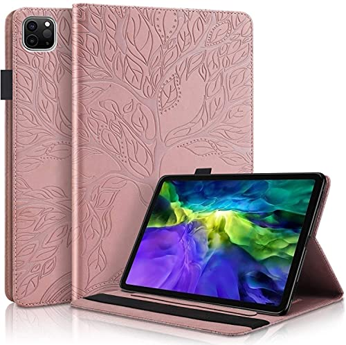 LUHUADE - Funda de piel sintética plegable con diseño de árbol de la vida para Samsung Galaxy Tab S5 (10,5 pulgadas), protección de 360°, color rosa