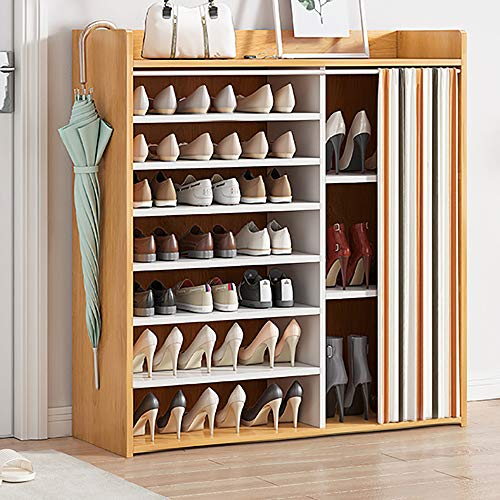 Goodan Shoe Rack Organizer with Dustproof Cover Rectangle Free Standing Shoe Storage Cabinet for Entryway wood