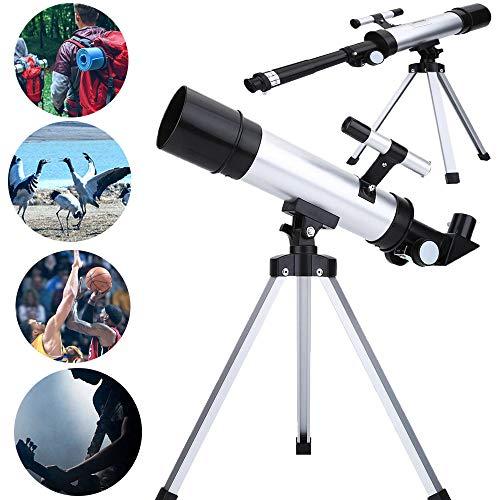 Topiky Rifrattore per telescopio astronomico monoculare telescopico 90X per osservazione astronomica Uso terrestre con Vetro Ottico Multistrato 50mm con Lente ortogonale Lente di Barlow 1.5X   mirino