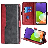 FiiMoo Handyhülle Kompatibel mit Samsung Galaxy A22 4G, [Kartenfach] [Magnetverschluss] [Aufstellfunktion] Premium PU Leder Tasche Flip Wallet Hülle Schutzhülle Hülle für Samsung Galaxy A22 4G-Rot