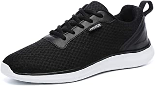 Shangruiqi Athletic Sneakers for Men Running Sport Shoes Lace up Breathable Mesh Fabric Lightweight Antislip Outsole Anti-Wear (Color : Black, Size : 6.5 UK)