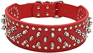 """BONAWEN Leather Dog Collar Studded Dog Collar with Spikes for Large Medium Dogs,2"""" Width"""