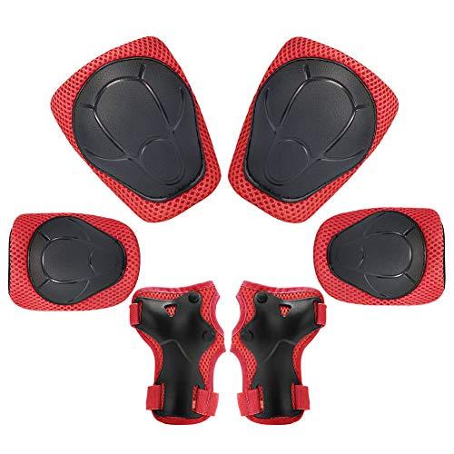KUYOU Kinder Knieschoner Set 6 in 1 Kit Schutzausrüstung Knie Ellbogenschützer (Rot)