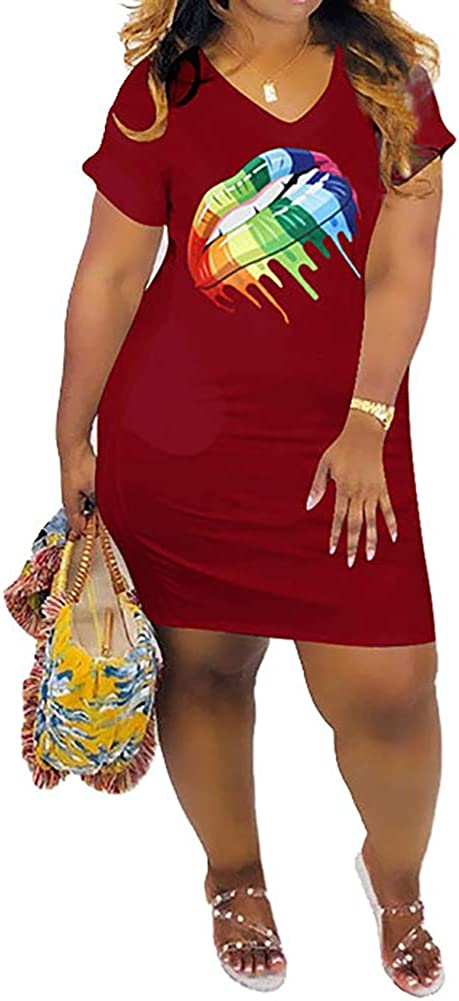 ThusFar Women Casual Bodycon Pencil Midi Dresses - Striped Print Half Sleeve Crewneck Tunic Long T-Shirt Dress Clubwear