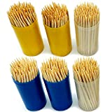 600pk Wooden Toothpicks by Keep It Handy   6 x 100pk Multipurpose Cocktail Sticks for Dental Teeth Care, Cocktails Frill Sticks, Fruit Pick Sticks   Round Sturdy Toothpicks in Clear Containers