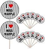 I Love Miss Marple – Partyessen – Kuchen Cupcakes – Picks Sticks – Essenflaggen – stehende Dekorationen (14 Stück)