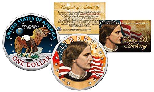 Susan B. Anthony Genuine One-Dollar Coin w/Coin Capsule & COA Color 2-Sided