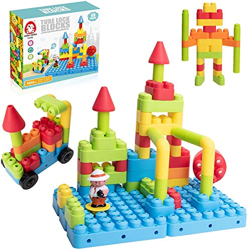 Bebamour 68 Piece Building Blocks, Tube Sensory Toys, Creative Tube...