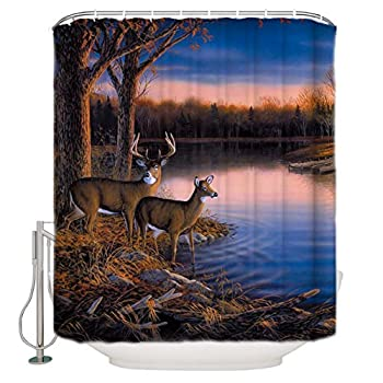 YOKOU Antlers Decor Shower Curtain Set Nature Wildlife Animal Deers Print Polyester Fabric Bathroom Shower Curtains with Hooks 60  W x 72  H
