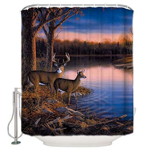 """YOKOU Antlers Decor Shower Curtain Set Nature Wildlife Animal Deers Print Polyester Fabric Bathroom Shower Curtains with Hooks 60"""" W x 72"""" H"""