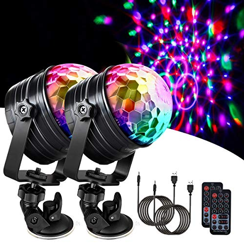 Seamuing Disco Licht Led Discokugel Usb Musikgesteuert Party Lampe Mit Mondlicht Lampe Mit 4M Usb-Kabel 6 Color Party Lights Mit Fernbedienung Für Familienfeiern Und Kindergeburtstage