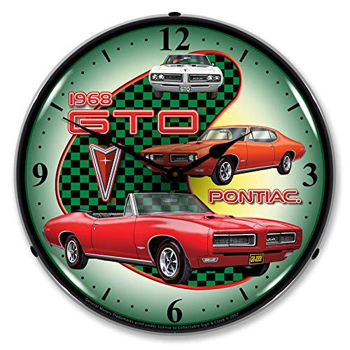 Collectable Sign and Clock 1968 Pontiac GTO LED Relojes de Pared, Retro/Vendimia, Iluminado, 14 Pulgada