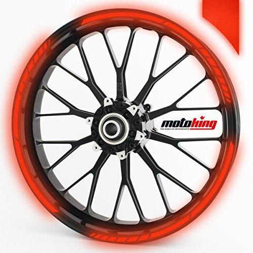 Felgenrandaufkleber GP im GP-Design passend für 17 Zoll Felgen für Motorrad, Auto & mehr - REFLEKTIEREND ROT