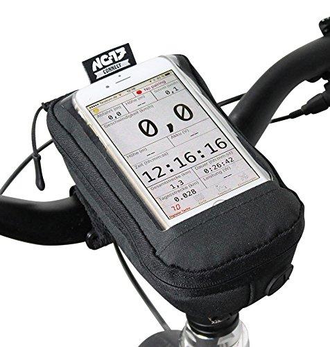 Nc-17 Connect Pochette universelle pour smartphone pour guidon de vélo avec fermeture Velcro/pour iPhone, Samsung série Galaxy ou max. 7,5 cm x 13 cm (Housse étui universelle avec compartiment de rangement, 17,5 x 10,2 x 5 cm, avec passage de câble)