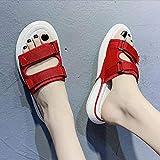 Calzado para pies diabeticos,Zapatillas de Verano para Mujeres Embarazadas, Fondo Plano Antideslizante para Exteriores, Edema, Fondo Suave y Suelto-Red_38
