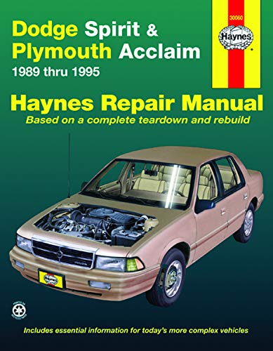 Dodge Spirit & Plymouth Acclaim (89-95) Haynes Repair Manual (Does not include information specific to flexible fuel models. Includes thorough vehicle coverage apart from the specific exclusion noted)