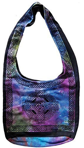 Handmade Cotton Celtic Cross Hobo Bag for Shopping Work Tote Flat Bottom 15x12 by India Arts