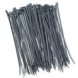 100 bridas para valla de 200 mm x 2,5 mm, color gris