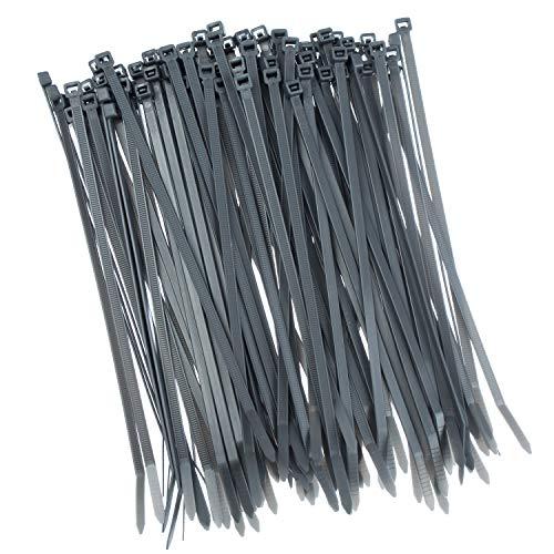100 Stück Kabelbinder 200mmx2,5mm für Schattiernetz Zaunblende Zaun in grau