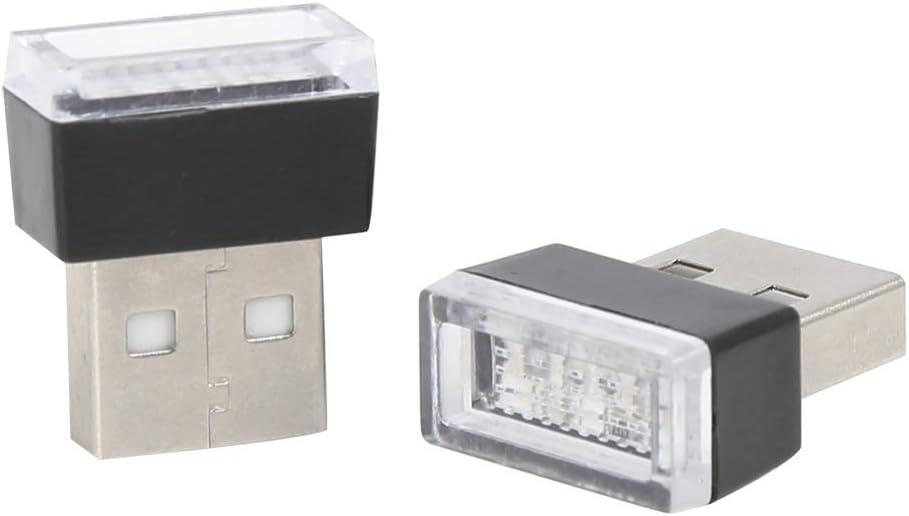 X AUTOHAUX 2pcs Pink USB LED Light Atmosphere Ambient Lamp Car Interior Accessories