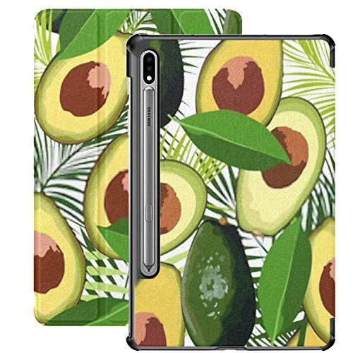 Funda Galaxy Tablet S7 Plus de 12,4 Pulgadas 2020 con Soporte para bolígrafo S, patrón sin Costuras de Aguacate, Hojas Tropicales, Funda Protectora Delgada con Soporte de Palma para Samsung