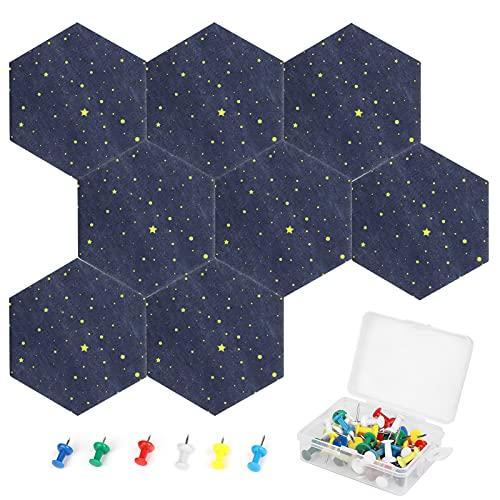 icyant Azulejos de tablero de fieltro hexagonal, 8 paquetes de tableros de anuncios de notas con 50 alfileres de empuje, tablero de corcho hexagonal con respaldo adhesivo, tableros de notas