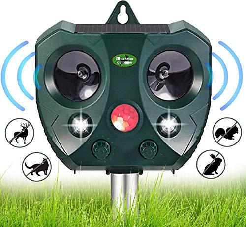 Solar Ultrasonic Animal Repellent Outdoor- Garden Deer Away Repeller for Trees, Solar Powered Motion Sensor Activated Rodent Deterrent Anti Squirrel, Cat, Rabbit - Racoon, Skunk Device