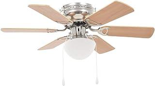 vidaXL Ventilateur de Plafond Orné avec Lumière Marron Clair Plafonnier Lampe