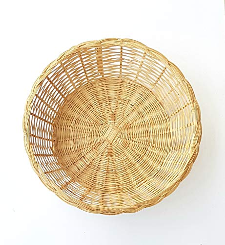 MY HOPE Natural Bamboo Round Basket for Bread Breakfast 11 Inch