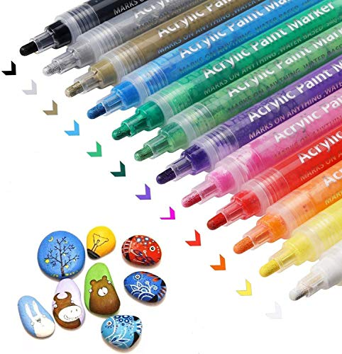 Acrylic Paint Pens, Paint Markers Pens, Fast Dry, Waterproof, 12 Colors Paint Pens for Rock Painting, DIY Crafts, Stone, Ceramic, Glass, Wood, Fabric, Mug, Metal, Home Decoration