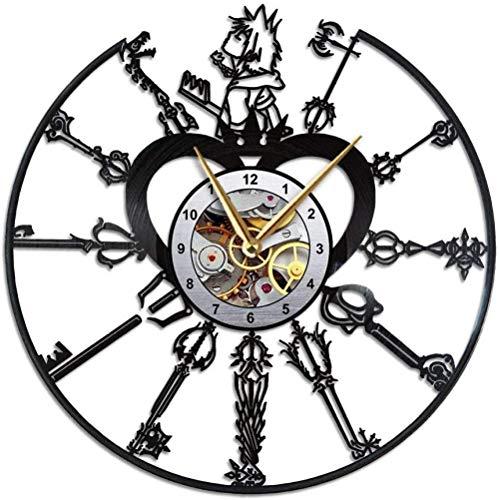SFDGBTH Reloj de los Corazones del Reino, decoración de la Pared del Registro de Vinilo, mercadería, Regalo de Merch Reloj de 12 Pulgadas