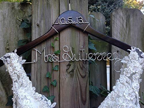 Wedding Dress Hanger Personalized Hanger Wire Name Hanger Bride Gift Wedding Hanger Customized Hanger Wood Name Hanger