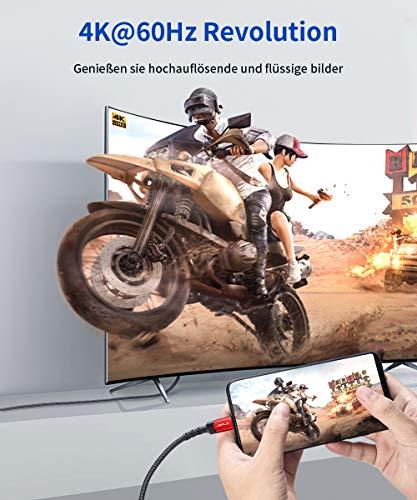 JSAUX USB C auf HDMI Kabel 3M(4K@60Hz), Typ C zu HDMI Kabel [Thunderbolt 3 Kompatibel] für MacBook Pro 2020/2019, iPad Pro/MacBook Air 2018, Samsung S20/S20+/S20 FE/S10/Note 20, Huawei P40/Mate40 Rot