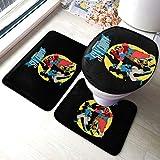 MAYA LIAM 3 Piece Bathroom Rug Mats Set Sly Cooper Anti-Skid Pads Bath Mat + Contour + Toilet Lid Cover
