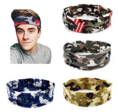 Hemuu 4 Stücks Sport Stirnband for Männer, Tarnung Farbe Headband, Elastisches Baumwolle Haarband für Laufen im Freien, Yoga, Fitness, Fitnessstudio Sports