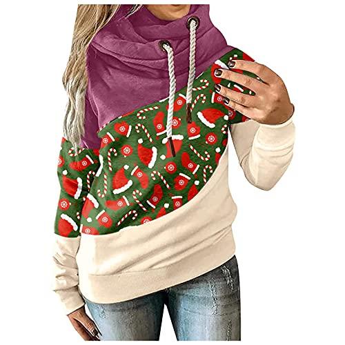 SHOBDW Sudaderas Mujer con Capucha Estampados De Navidad Cuello Alto Pullover Hoodie Chaqueta Deportiva Talla Grande Abrigo con Bolsillo Deportivo Mujer Adolescentes Liquidación Venta(Morado,M)