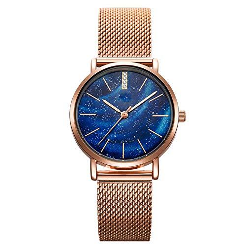 Women Watches Gypsophila Dial, Starry Dial Women Watches Waterproof Ultra-Thin Stainless Steel Strap Quartz Ladies Wristwatch (Blue)