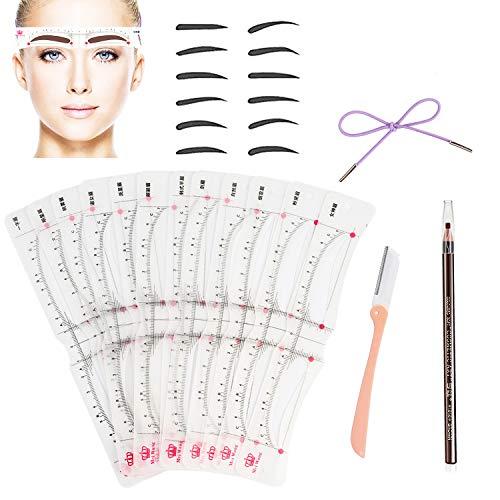 Howaf Augenbrauen Schablonen Set, 12 augenbrauen lineal Schablonen Augenbraue Zeichnung Karte und augenbrauenrasierer Braun Augenbrauenstift Make-Up Kosmetik Werkzeug für Mädchen Frau
