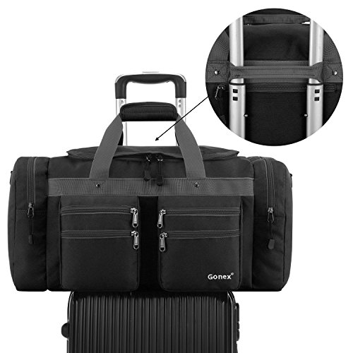 Gonex 45L Travel Duffel Bag Gym Bag Sports Duffle Bag Weekender Bag Luggage Duffel for Men Women for Hiking Camping Travelling Cycling with Multi-Pockets Black