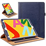 ZoneFoker Case for New iPad 8th / 7th Generation Case, iPad 10.2 Case, 360 Protection Multi-Angle Viewing Stand Leather Cover with Pencil Holder for iPad 10.2 inch 2020/2019 8th/7th Gen - Blue