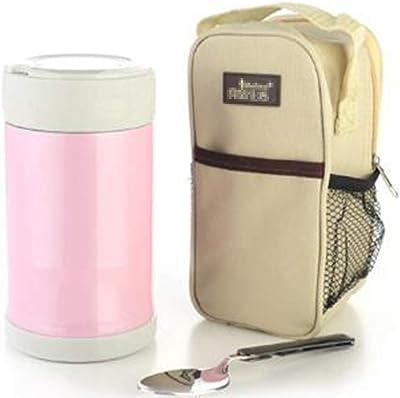 ステンレス鋼食品ボックス朝食断熱冷たいお粥ランチボックス漏れ防止の耐摩耗性ベルトトート750ML,1