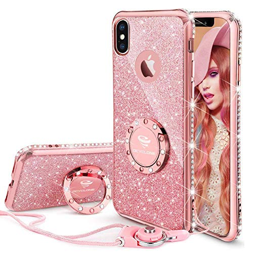 OCYCLONE iPhone Xs Case, iPhone X Case, Cute Glitter Luxury Bling Diamond Rhinestone Bumper with Ring Kickstand Protective Thin Girly Pink iPhone X/Xs Case 5.8 inch for Women Girl - Rose Gold Pink