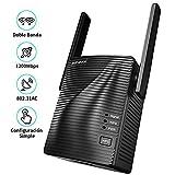Amplificador WiFi - Repetidor de Señal WiFi AC1200, Extensor de WiFi Doble Banda 2.4G & 5G, Repetidor de Red WiFi con Puerto Gigabit Ethernet, Amplificador de WiFi con WPS, Cubra la señal hasta 200㎡