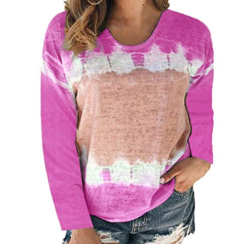 2020 Autumn and Winter New Women's Clothing Loose Round Neck Long-Sleeved Printed T-Shirt Top Women Rose Red