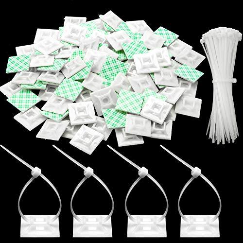 100 Packungen Kabelbinderhalter Selbstklebende Kabelbinderhalter mit Mehrzweckkabelbinder (Länge 200 mm, Breite 2,8 cm, Weiß)