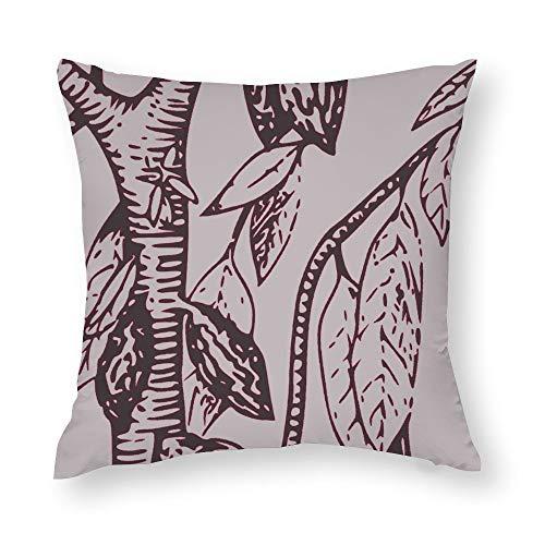 Grey Burgundy Cacao Tree Throw Pillow Covers Case Cushion Pillowcase with Hidden Zipper Closure for Sofa Home Decor 20 x 20 Inches